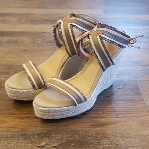Manebi espadrille leather wedge sandals size 11